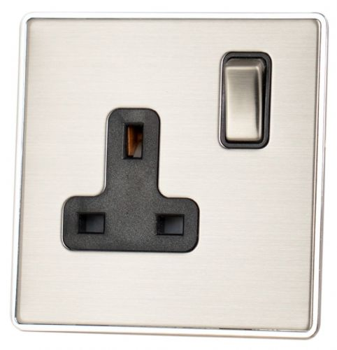 G&H LSS309 Screwless Brushed Steel 1 Gang Single 13A Switched Plug Socket